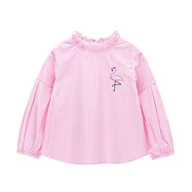 Mom n Bab Long Blouse Flamingo Baju Atasan Anak - Pink Stripe
