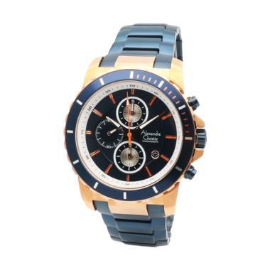 harga Alexandre Christie AC6141MCBH1033D43BRGLD Chronograph Stainless Steel Jam Tangan Wanita - Blue Gold Blibli.com