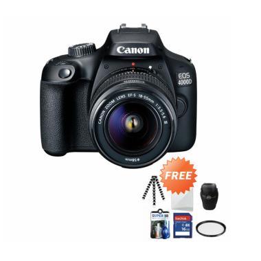 harga Canon EOS 4000D MARK III LENS 18-55 Kamera DSLR + Free Screenguard + SDHC 16GB + Gorillapod + UV Filter + Tas Universal + Cleaning Kit Blibli.com