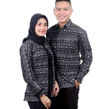Batik Prass Modern Atasan Batik Couple Black