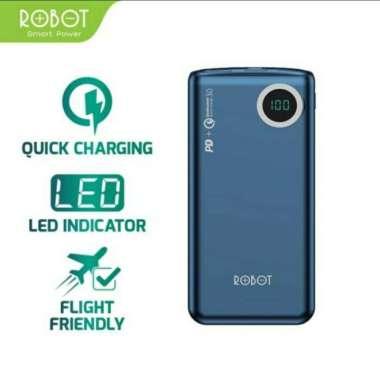 harga Robot RT100Q Power Bank 10000mAh Quick Charging 18W 3A LED Display Powerbank Blue Blibli.com