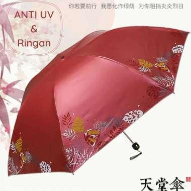 harga Payung Lipat Anti UV Paradise Original Motif Kembang Bahan Vinyl / Payung berkualitas merah Blibli.com