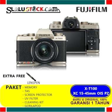 harga Promo Fujifilm X-T100 Kit 15-45Mm - Fuji Film X-T100 - Gold, Standart Box Hot Gold Blibli.com