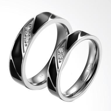 CDHJewelry CC004 Cincin Couple Titanium Anti Karat [Female 7 & Male 8]