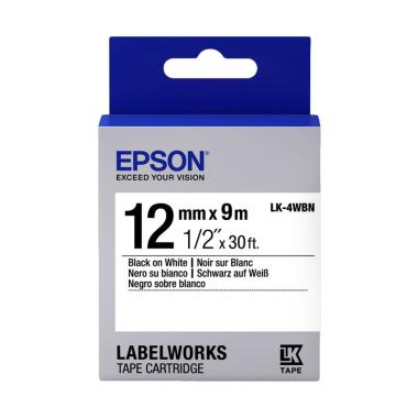 Epson LabelWorks LK-4WBN Black on White Tape Cartridge [12mm]