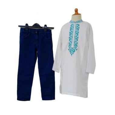 GBS Sens.Koko Embordiery Jeans Setelan Pakaian Koko Anak - White Blue