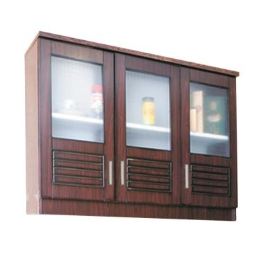 Kirana Kitchen UK 903 Set Lemari Atas - Dark Mahogany [3 Pintu Kaca]