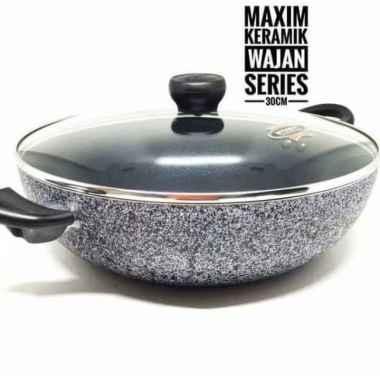 Sale New Wajan Wok Pan Anti Lengket Marble Ceramic Wok Maxim Neostone 30 Cm Lid Promo