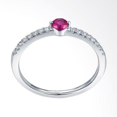 Tiaria Radiant Ruby Cincin Tunangan Berlian Emas Putih