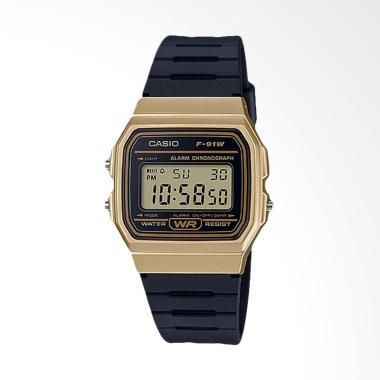 CASIO Standard F-91WM-9ADF Vintage Series Resin Band Jam Tangan Wanita -  Gold Black 348903a656