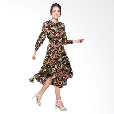 Papercut Fashion GZ Yomi 8028 Retro Flower With Tie Long Dress - Black