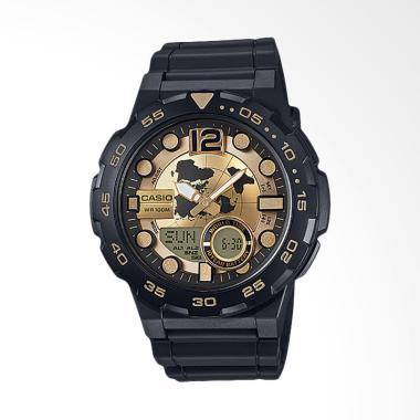 CASIO Jam Tangan Pria - Black Gold AEQ-100BW-9AVDF