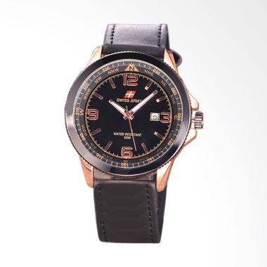 Swiss Army Jam Tangan Pria Body Ros ...  Black Leather SA-5695-RG