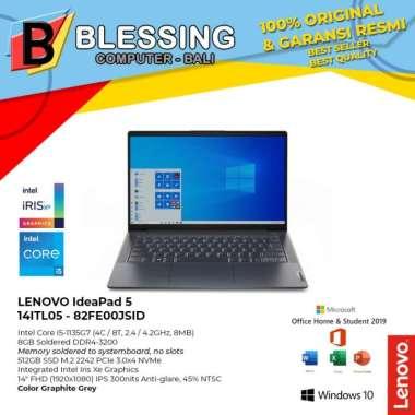 harga LENOVO IdeaPad 5 14ITL05 82FE00JSID Ci5 1135G7 8GB 512GB Iris W10 OHS, Graphite Grey Blibli.com