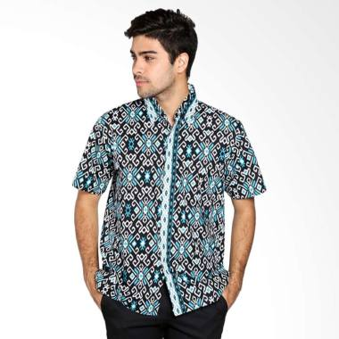Batik Distro Modern Lengan Pendek Kemeja Pria - Hitam K7992