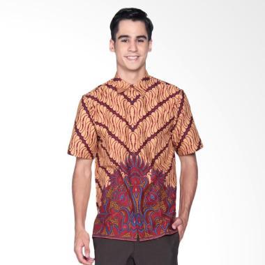 Danar Hadi Print Motif Parang Kitiran Kemeja Batik Pendek Pria - Red
