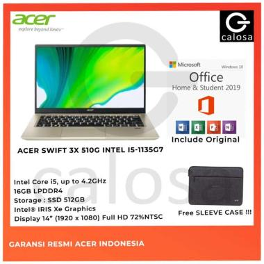 harga ACER SWIFT 3x SF314 510G 50CC i5 1135G7 16GB 512GB IRIS XE MAX 14 W10 Blibli.com