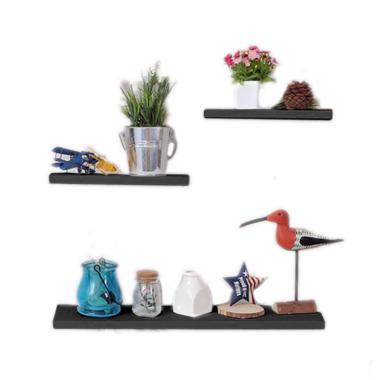 DEcTionS Set Floating Shelves - Hitam [3 pcs/ 40 x 20 x 20 cm]