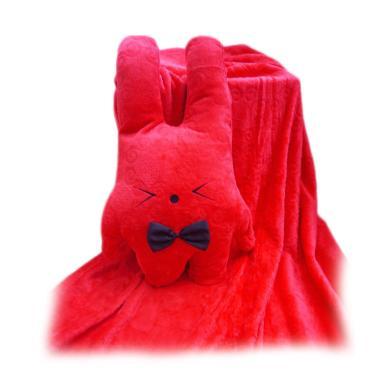 FusionHome Bunny dengan Pita Boneka Selimut - Red
