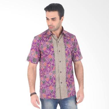 Batik Heritage Katun Mega Mendung K ... ngan pendek Pria - Purple