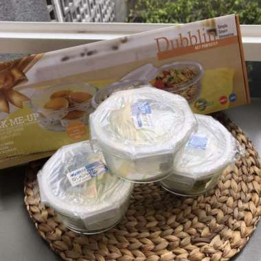 harga Microwave glass food container round set of three @420 ML Dubblin Multicolor Blibli.com
