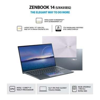 harga ASUS ZenBook 14 UX435EG-AI711NP [Intel I7-1165G7/16GB/1TB SSD/MX450 2GB/FHD IPS/WIN10/OHS] Pine Grey Blibli.com