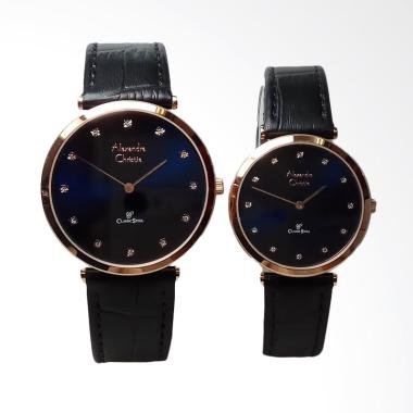 Alexandre Christie Classic Stainless Steel Leather Jam Tangan Couple