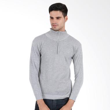 Cardigan Rajut Half Simple Sweater Pria - Abu Muda