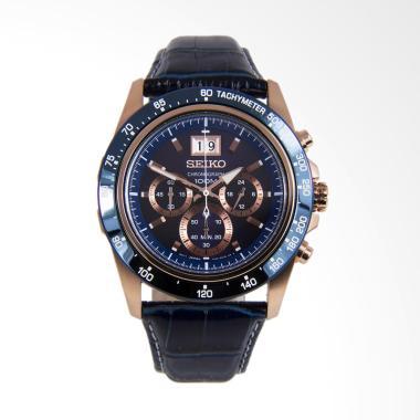 Seiko Lord Chronograph Blue Leather ... an Pria - Gold [SPC238P1]