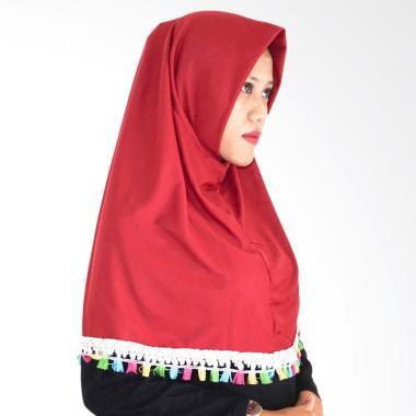 Najwa Hijab Instan Tassel Renda Jilbab Instan - Marun