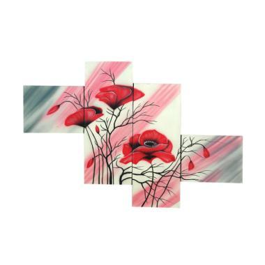 Lukisanku F45L Lukisan Bunga Canvas Painting