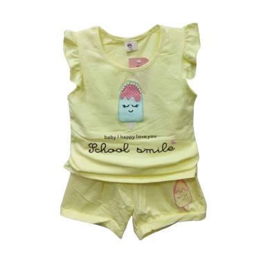 Import Kid 8228 Stelan Import Baju Bayi Perempuan - Yellow [Size XL]