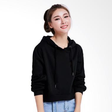 Okechuku Della Crop Fashion Korea Hoodie Sweater Wanita - Hitam