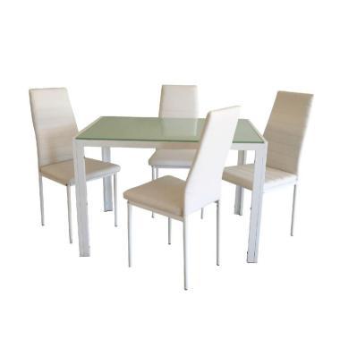 JYSK Dining Set Toreby Set Meja Makan - White [120 x 70 x 75 cm]