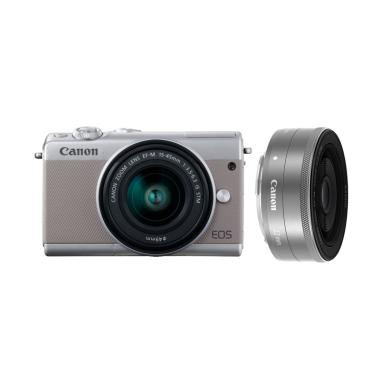 Canon EOS M100 Kit 15-45mm + 22mm Kamera Mirrorless - Grey Grey