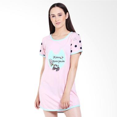 You've 6364 Sleepwear Set Flower Baju Tidur - Pink