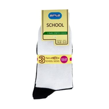 Orso School Spandex WB Kaos Kaki Anak - Black White [3 Pairs]