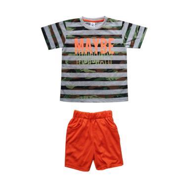 MacBear Stripe Army MayDay Setelan Baju Anak - Abu Tua