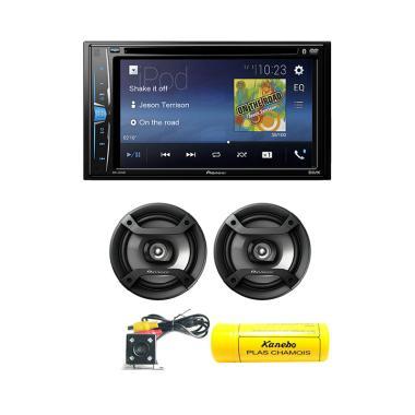 Pioneer AVH A205BT Double Din Headunit Mobil + Free Speaker 1634TS/ Rear Kamera/ Kanebo