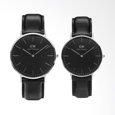 [FLASH SALE] Daniel Wellington Classic Sheffield Jam Tangan Couple - Hitam Ring Silver [40mm & 36mm]