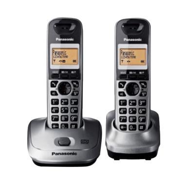 harga Telepon Wireless Panasonic KX-TG2522 - Telepon Wireless Rumah Kantor - Silver Blibli.com