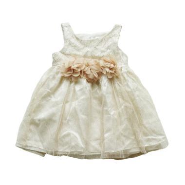 Bonnie Jean Party Glitter Flower Dress Anak - White