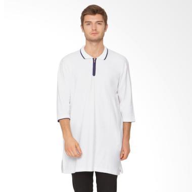 Zayidan Zipper Gamis Baju Muslim Pria - Putih