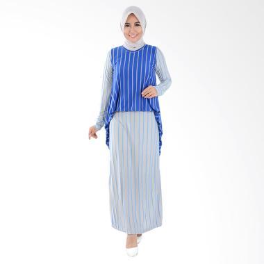 Jfashion Alfiana Tangan Corak Salur Long Dress Maxi Gamis - Biru