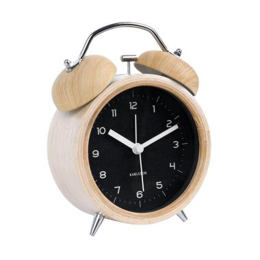 Karlsson Classic Bell Wood with Black Dial Alarm Clock