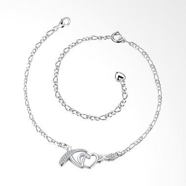 SOXY LKNSPCA002 Simple Anklet Love X Gelang Kaki - Silver