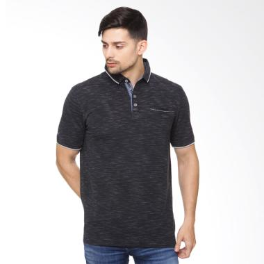 Osella Men Chambray Arnett Polo Shirt - Black