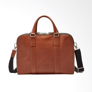 Fossil Double ZIP Work Bag Tas Selempang Pria - Brown