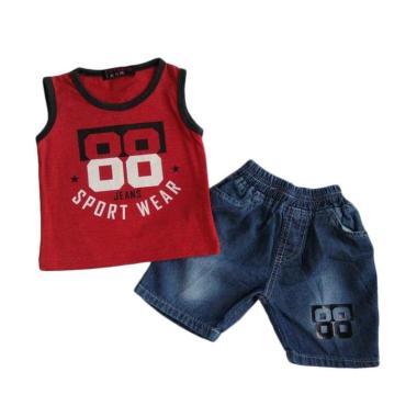 WISE-D SJ137 Setelan Kaos Jeans Bay ... - Merah [Usia 0-24 Bulan]