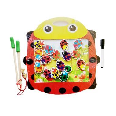 MOMO Double Side Fishing and Writing Board Kumbang Mainan Edukasi Anak